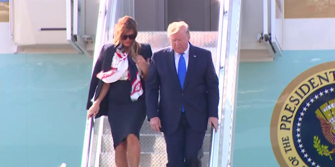 Дональд и Мелания Трамп 3 июня в лондонском аэропорту Стэнстед/ официальный YouTube канала Sky News